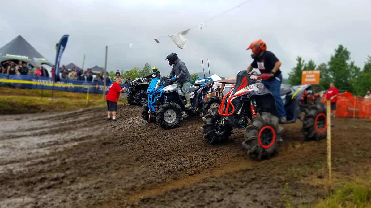 Racers getting ready to enter the mudpit at the Jericho ATV Festival